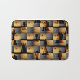 Wooden Chessboard and Chess Pieces  pattern Bath Mat
