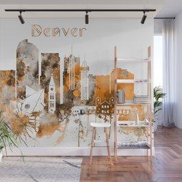 Denver Warm Color Skyline Wall Mural
