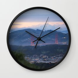 Golden Gate Bridge from Twin Peaks at Sunset Wall Clock