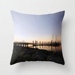 Sunrise at the Marina Throw Pillow