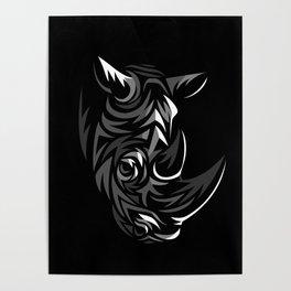 Tribal Rhino Poster