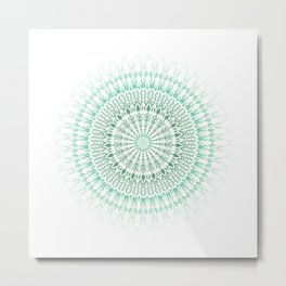 Mint White Geometric Mandala Metal Print
