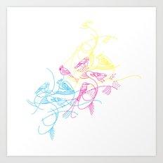birds doodle in cmyk Art Print