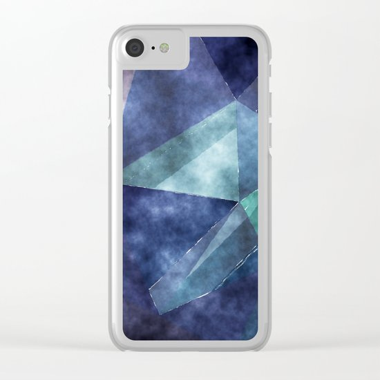 The deep blue sea- Watercolor triangles pattern in blue colors Clear iPhone Case