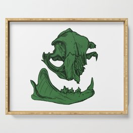 Cat Skull 7 (army/olive green) Serving Tray