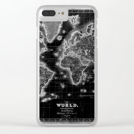 Black and White World Map (1840) Inverse Clear iPhone Case