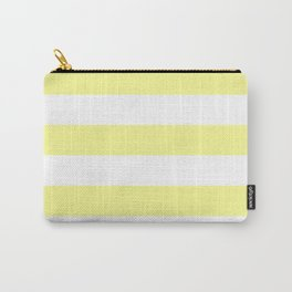Horizontal Stripes - White and Pastel Yellow Carry-All Pouch
