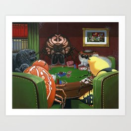 Spiders Playing Poker Art Print
