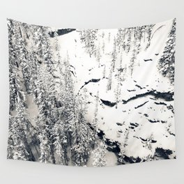 Snow on Textures of Pine Trees and Cliffs Wall Tapestry