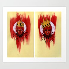 Red Portrait Diptych Art Print