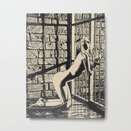 Caged, chained, happy - submissive slave girl in Masters Dungeon, kinky adult artwork, fetish erotic Metal Print