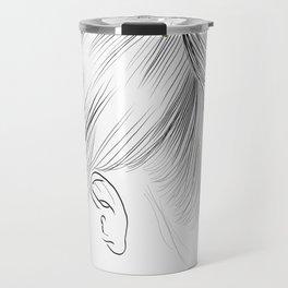 Fashion Illustration Hairdo Bridal Updo Hair Style Drawing Line Art Travel Mug