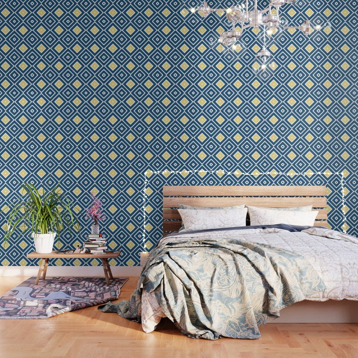 Pattern Abstrait Formes Carres Bleujauneblanc Wallpaper By K Creatif