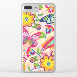 Butterflies and Fowers Clear iPhone Case