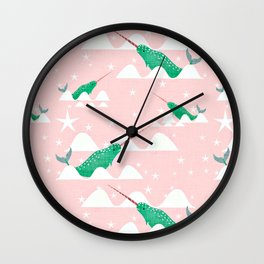 Sea unicorn - Narwhal green and pink Wall Clock