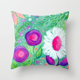 White Flowers, Purple Flowers, Floral Painting for Girl, Nursery Decor, Green, Blue, Coral Art Throw Pillow