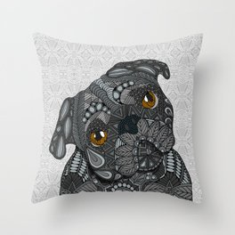 Black Pug 2016 Throw Pillow