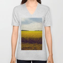 Prairie Landscape Bright Yellow Wheat Field Unisex V-Neck