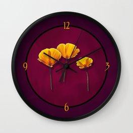 Three Poppies Wall Clock