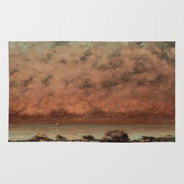 The Black Rocks at Trouville Gustave Courbet Painting Rug