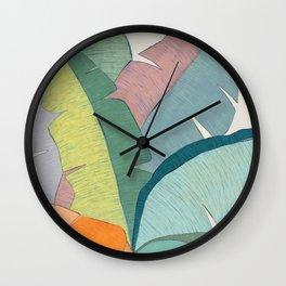 Banana leaves pastel colors Wall Clock