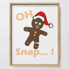 Christmas Gingerbread Man Cookie Funny Design - Oh Snap Print Serving Tray