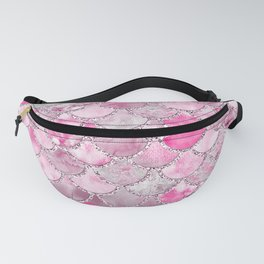 Trendy Colorful Pink Watercolor Glitter Mermaid Scales Fanny Pack