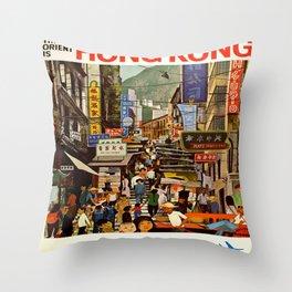 Vintage poster - Hong Kong Throw Pillow