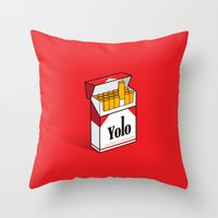 cigarettes Throw Pillows featuring YOLO Cigarettes  by RJ Artworks