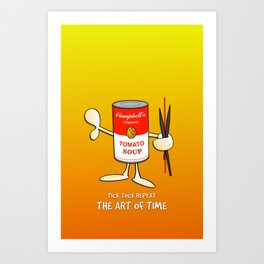 Tomato soup clock (orange) Art Print