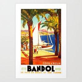 Vintage Bandol France Travel Poster Art Print