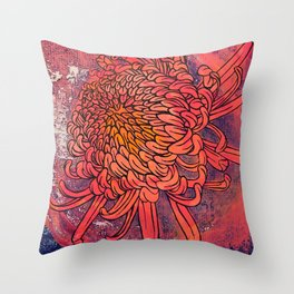 Chrysanthemum (Silk screen & fine liner) Throw Pillow