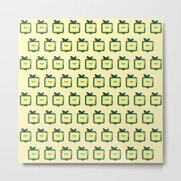 Square apple cute illustration Metal Print