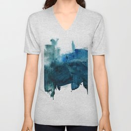 Change: A minimal abstract acrylic painting in blue and green by Alyssa Hamilton Art Unisex V-Neck