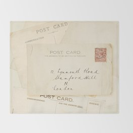 Retro post card  with address and stamp Throw Blanket