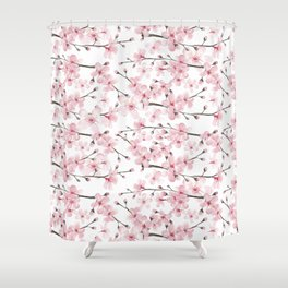 Watercolor cherry blossom Shower Curtain