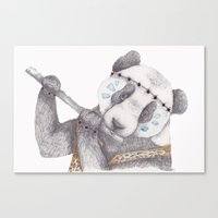 hippy Canvas Prints featuring Hippy Panda. by Brionyjoseillustrations