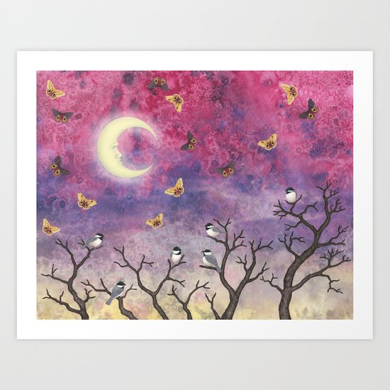 chickadees and io moths in the moonlit sky Art Print