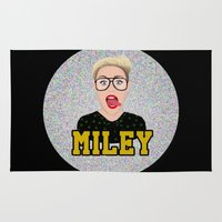 miley cyrus Area & Throw Rugs featuring Miley Cyrus by Jessica Guetta