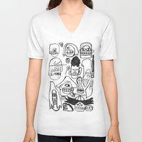 faces V-neck T-shirts featuring Faces by GOONS