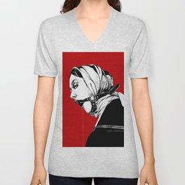 Lady Portrait on Red. Unisex V-Neck