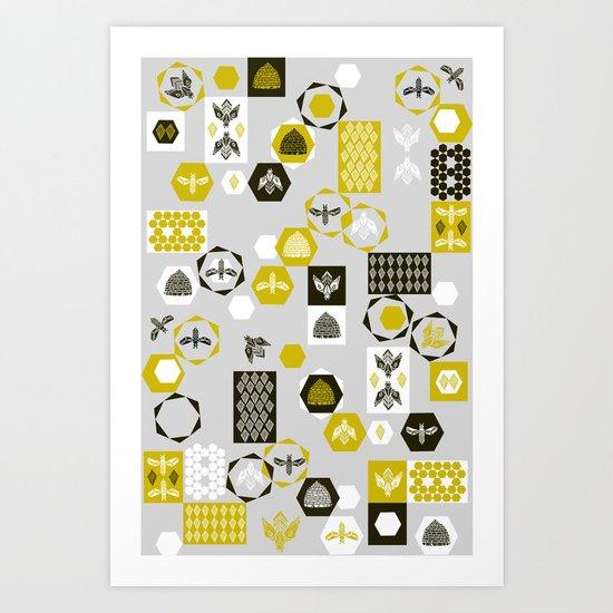 Bees Block Art Print