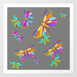 Rainbow Colored Butterflies Charcoal Grey Art Design Art Print