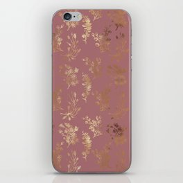 Mauve pink faux gold wildflowers illustration iPhone Skin