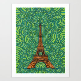 Eiffel Tower Drawing Meditation - orange/green/blue Art Print