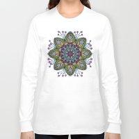 health Long Sleeve T-shirts featuring Blue Health Mandala - מנדלה בריאות by dotan yiloz