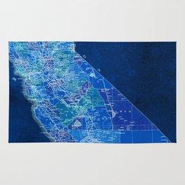 California, blue old vintage map, original art for office decor Rug