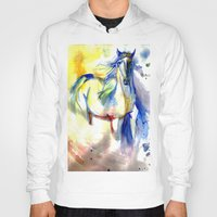 mustang Hoodies featuring Watercolor Mustang by Madkazer Designs