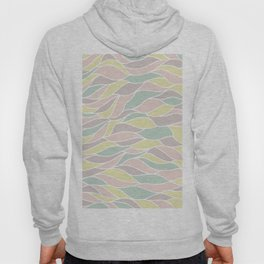 Pastel yellow green coral pink abstract geometric waves Hoody