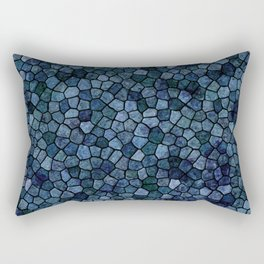 Blue Lagoon Midnight Rippled Water Abstract Rectangular Pillow